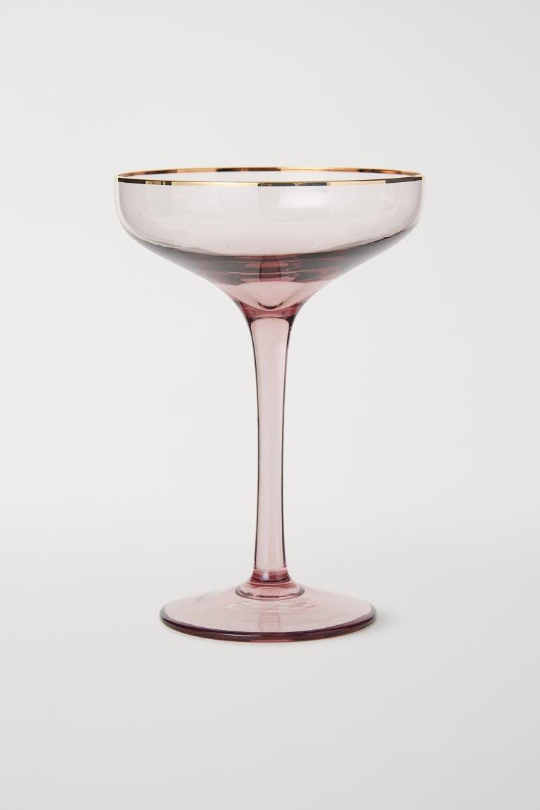 hm champagneglas home lyserød guld