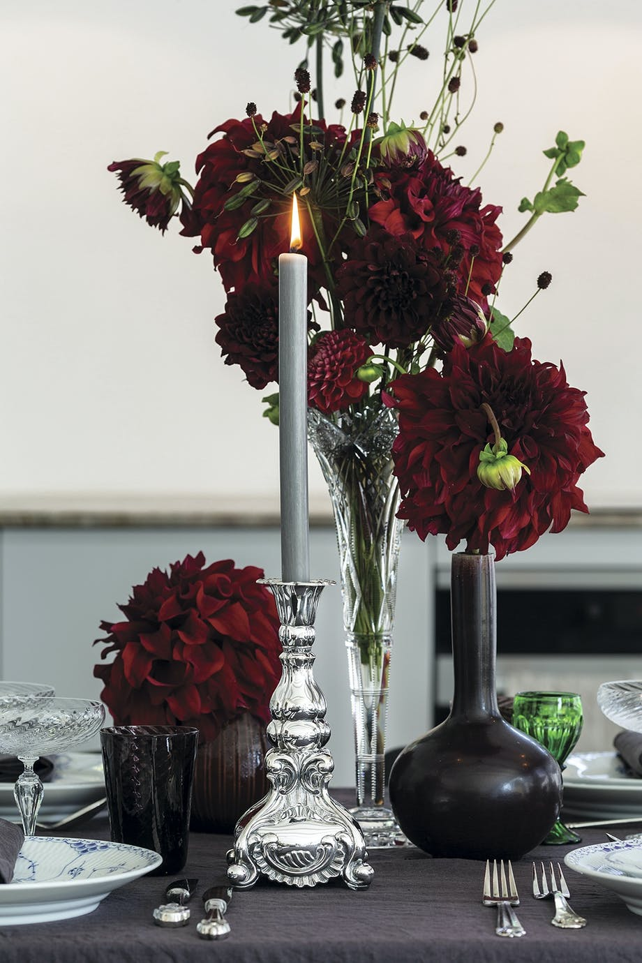julebord blomster sølvtøj