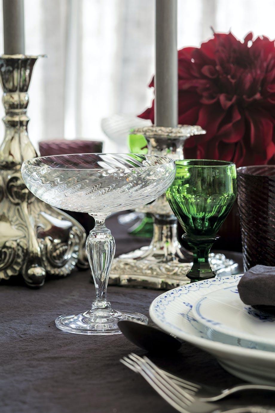 krystalglas vinglas borddækning