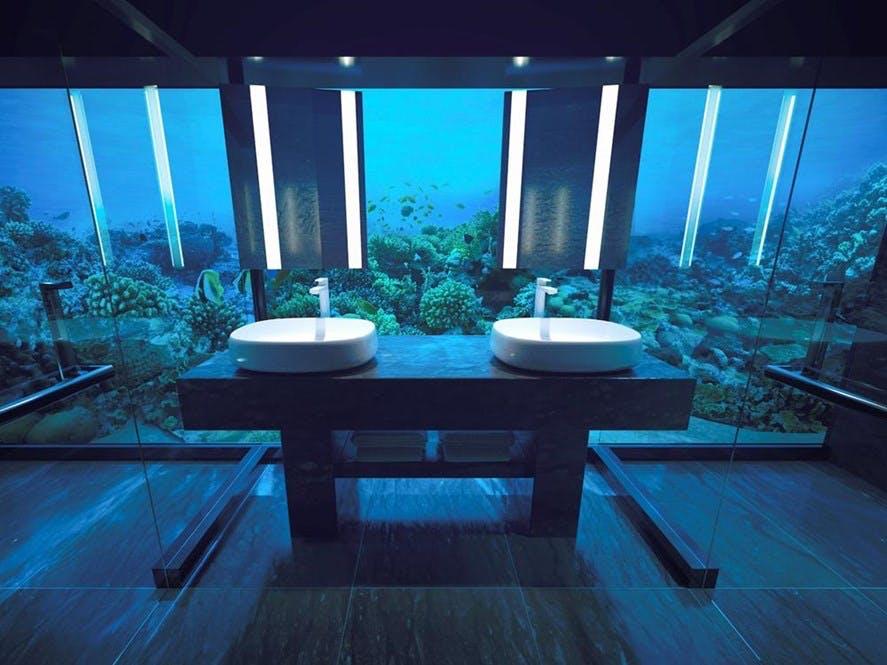 conrad muraka underwater hotel badeværelse udsigt