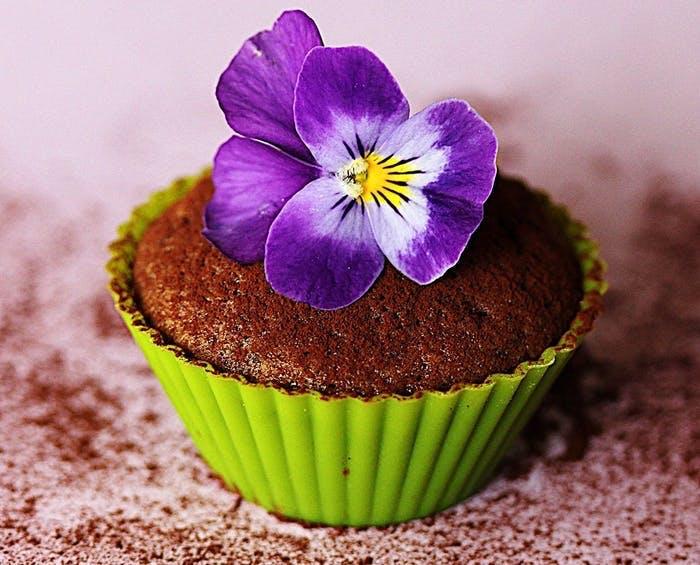 Muffin med violer