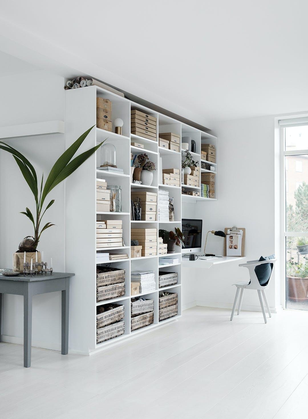 bogreol hvid kontor reol plante lyst