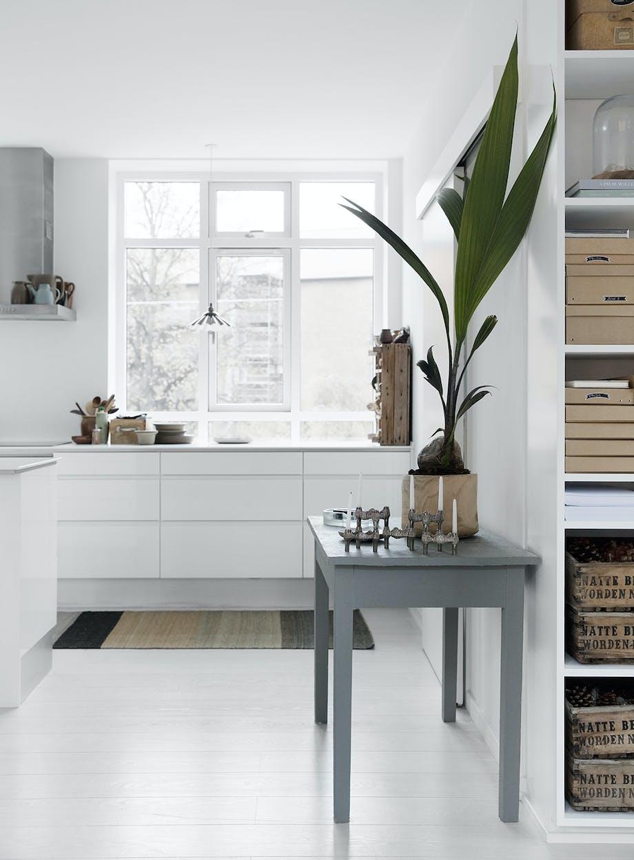 Køkken palme hvidt lysestager