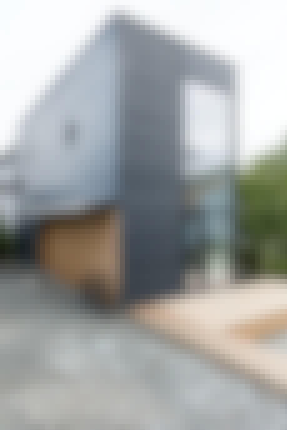 Blåbeiset hus