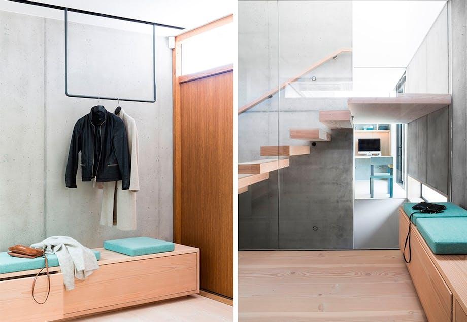 Svevende garderobe, svevende trapp