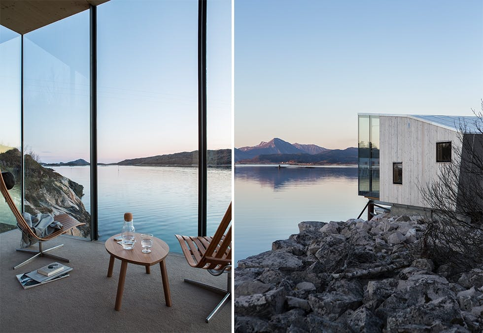Børge Ouslands hotell på øya Manshausen, arkitekt Snorre Stinessen
