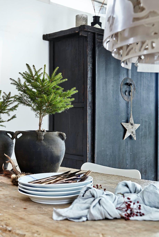 Granbar som julepynt i hjemmet til jul.