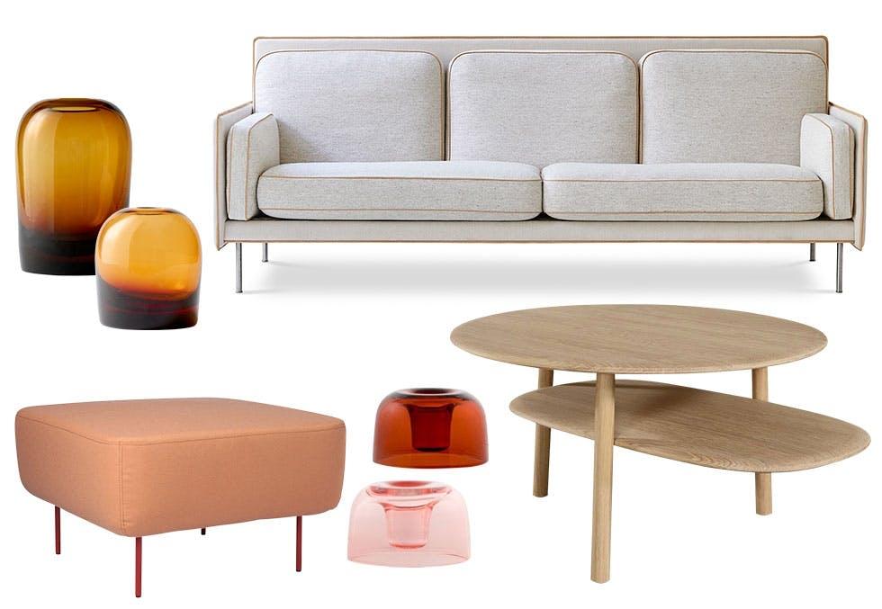 Møbler og glass i vakre farger