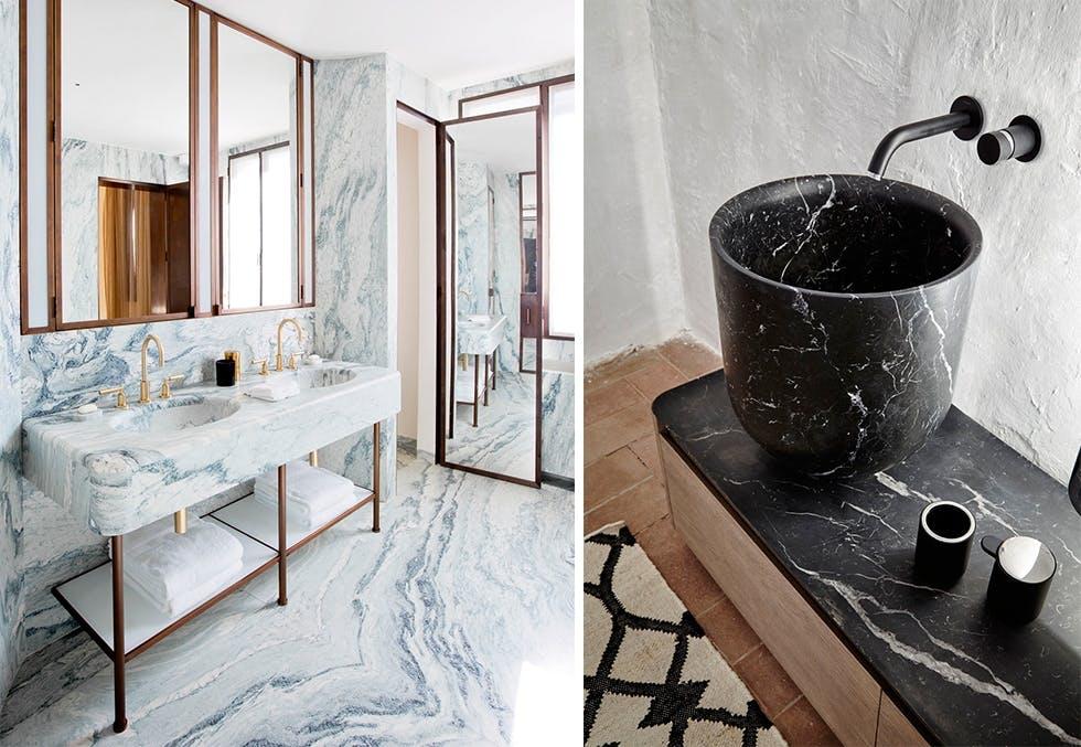 Bad helkledd i lys marmor