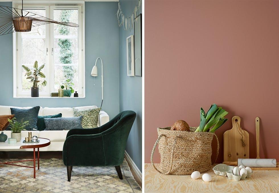 Blå stue, grønn velurstol, lyst rom, vårlige farger i kjøkkenet.