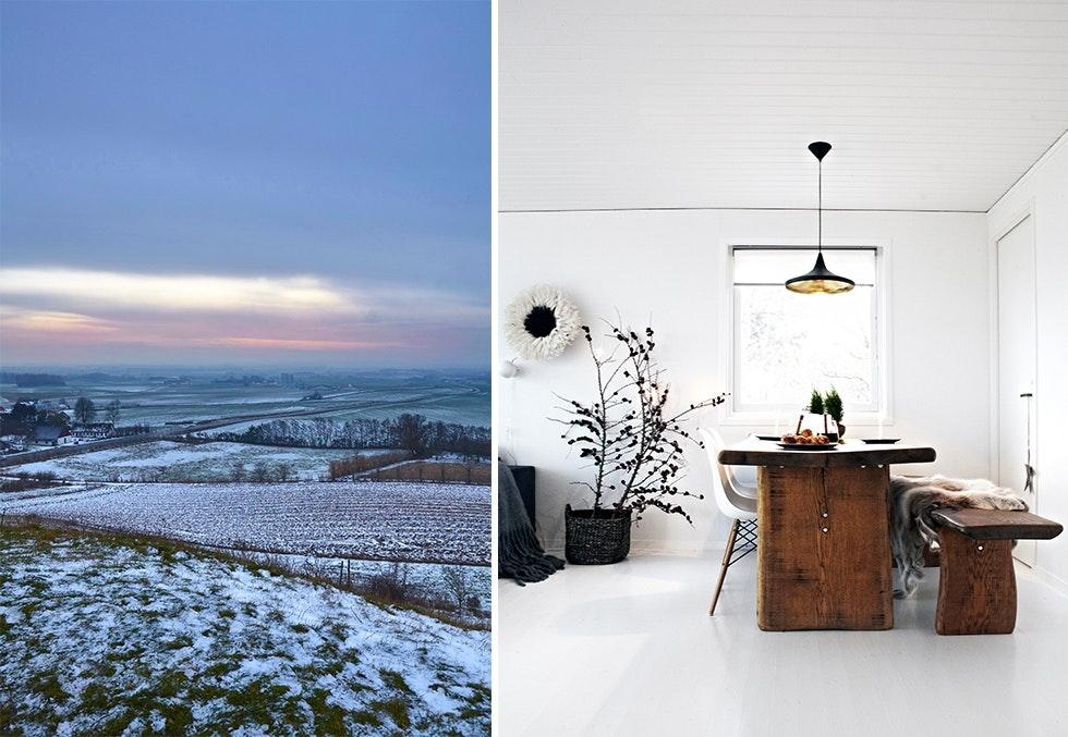 vinterlandskap og minimalistisk pyntet julehjem