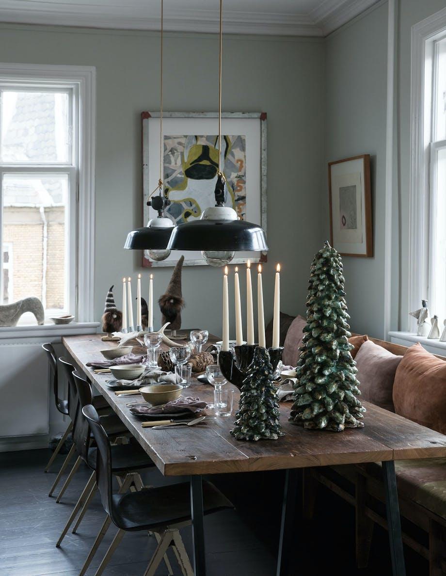 rustikt julepyntet bord