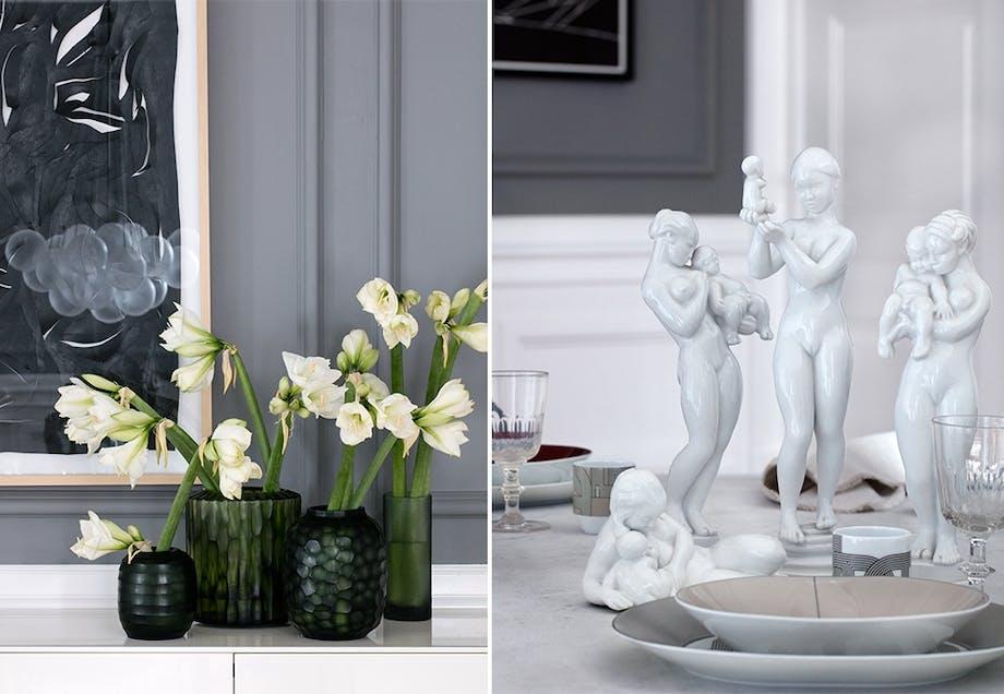 Pyntet festbord med herskapelige hvite detaljer