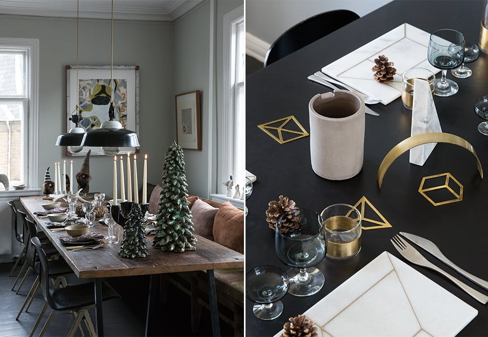 Festpyntede bord til julefesten