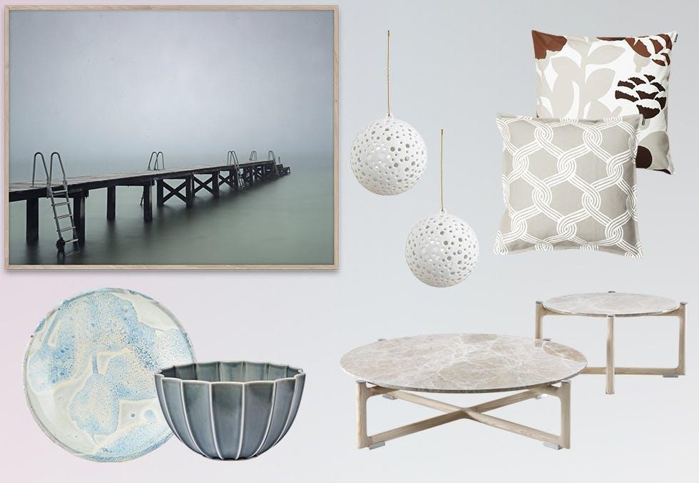 Interiør i nyanser av hvitt, grått og isblått