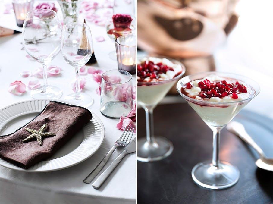 Julepyntet bord med roseblader og riskrem-dessert med granateple