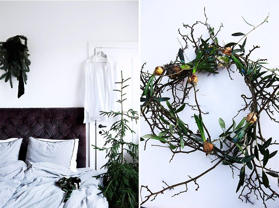 Julepyntet soverom og julekrans av grener og løkblomster