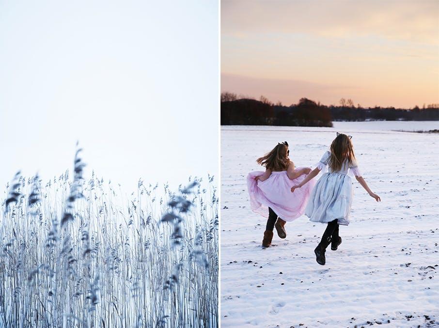 Vinterstemning og barn som løper i snøen