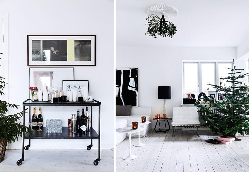 Julepyntet stue hos interiørfotograf Birgitta Wolfgang