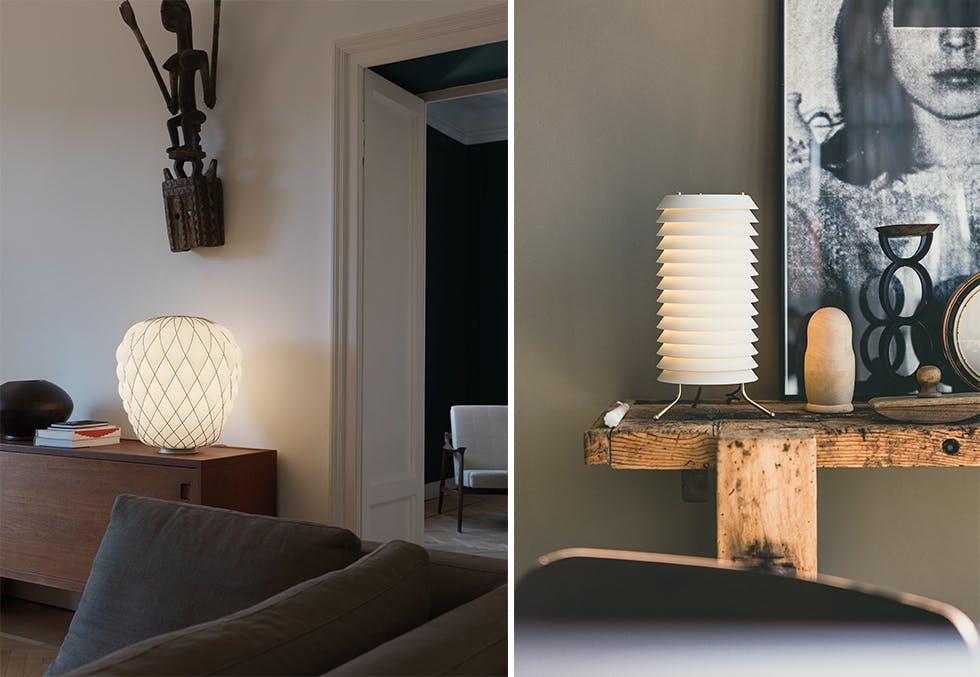 Nye, skulpturelle bordlamper fra Fontana Arte og Santa & Cole