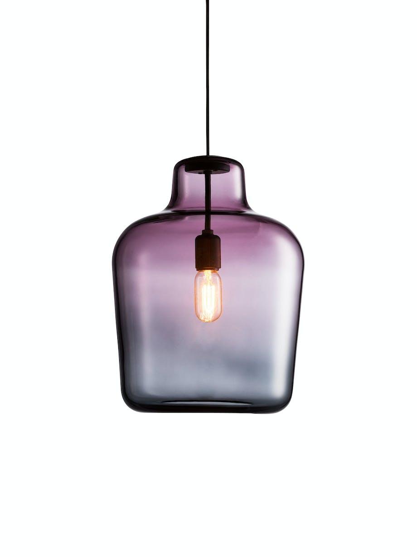Glasslampe, pendel i lillanyanser
