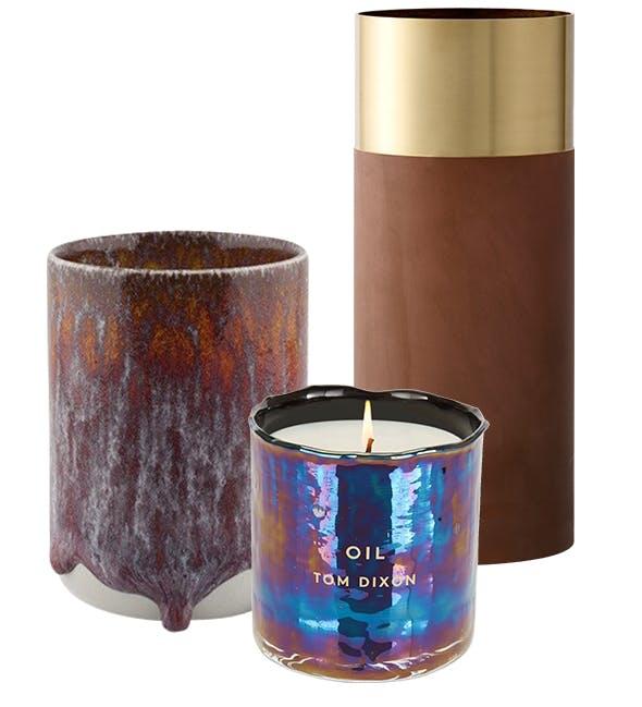 Diverse vaser i jordfarger og duftlys fra Tom Dixon