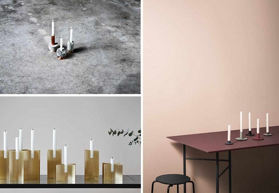 Moderne adventsstaker til minimalistisk, skandinavisk interiør