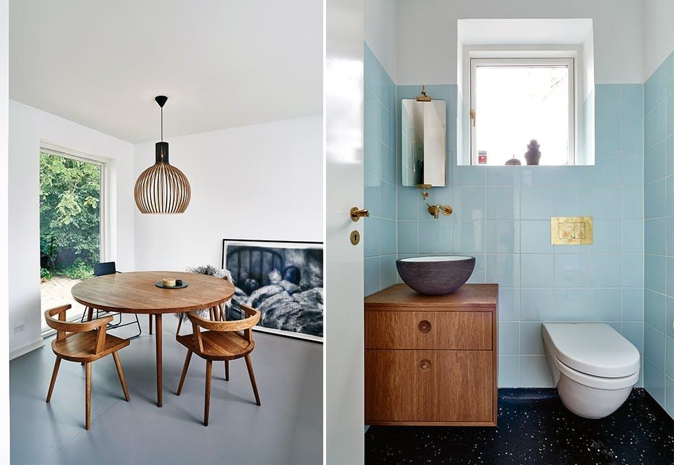 Spisebord og bad i dansk funkisvilla fra 30-tallet