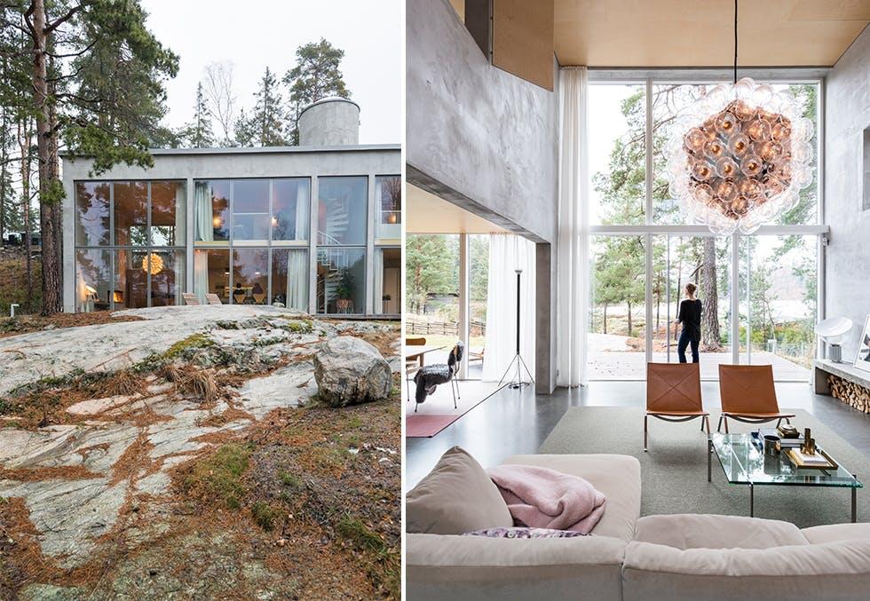 Arkitekttegnet betongbolig i Stockholms skjærgård