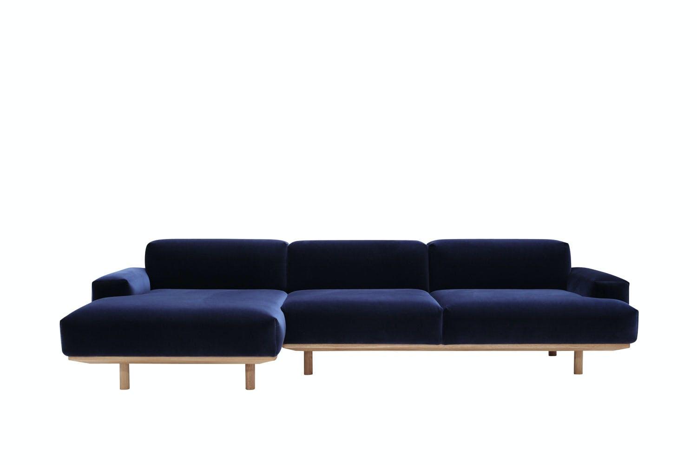 Stor knallblå sofa med chaiselong fra Bruunmunch