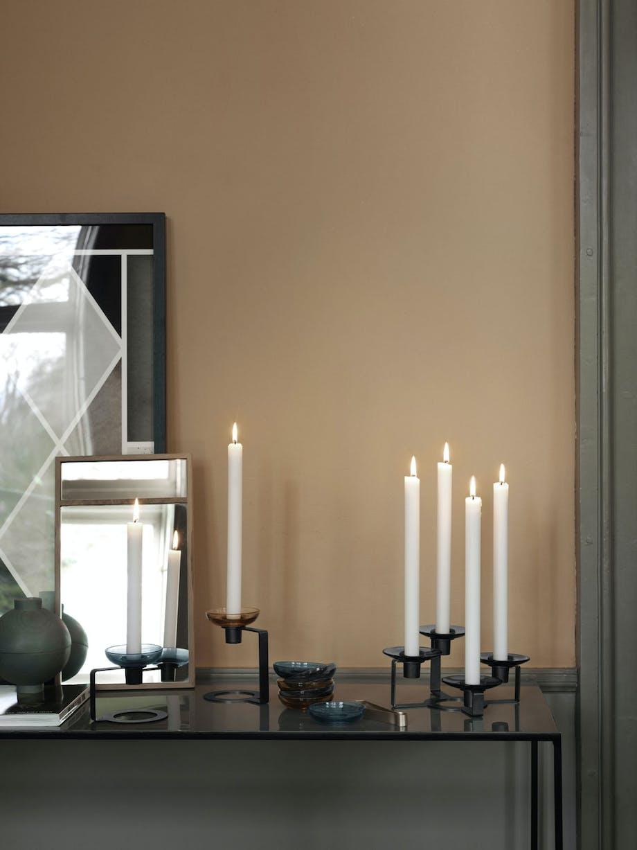 Lysmansjetter fra Holmegaard i lysestaken Lumi