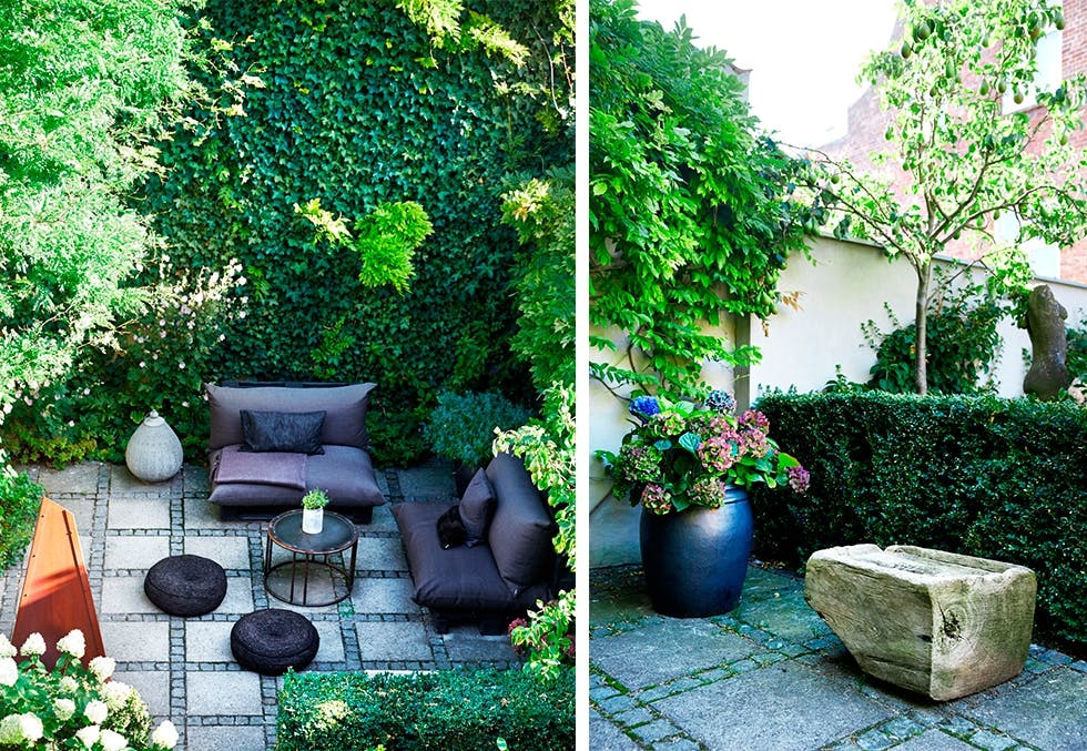 Slik innreder du små hager med koselige sittegrupper, planter og krukker.