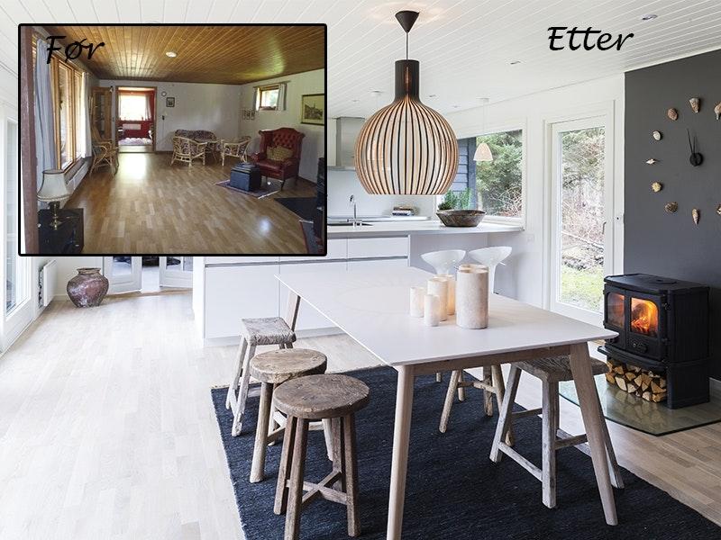 Hyttekjøkkenet før- og etter