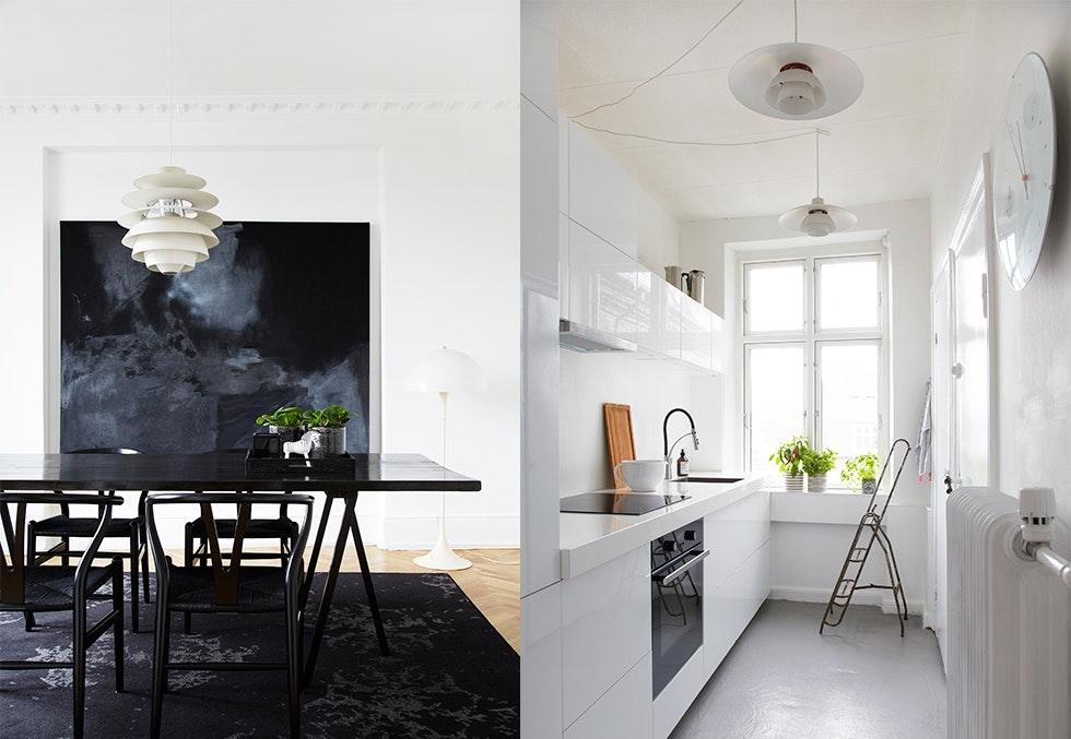 Bolig med svart-hvitt interiør. Her bor David Andersen, kreativ direktør for Rosendahl.