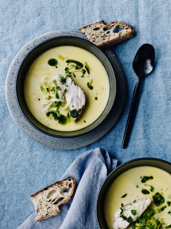 Suppe med lysing og purre