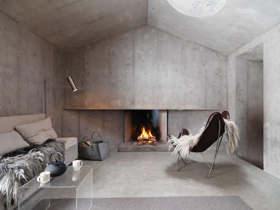 Rå betongen, skinn og tekstiler