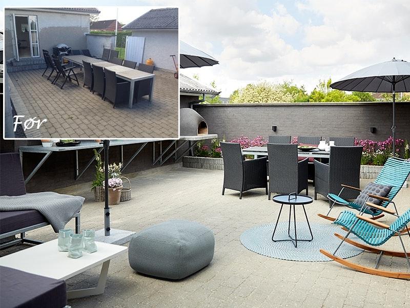 Terrassen før og etter
