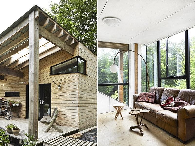 Arkitekttegnet hus i skogen