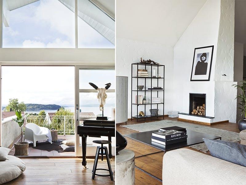 Lys stue med utsikt