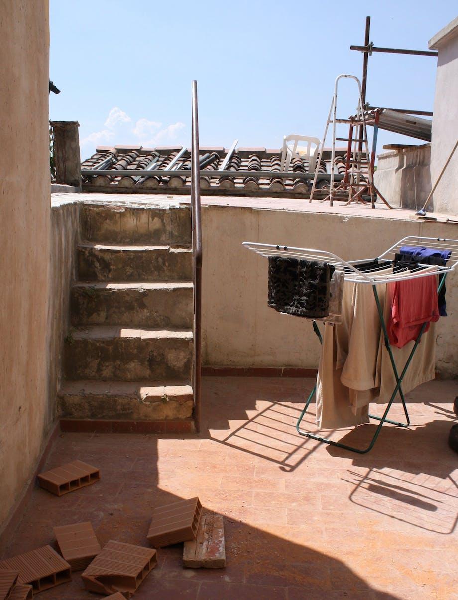 Terrasse i første etasje før oppussing.