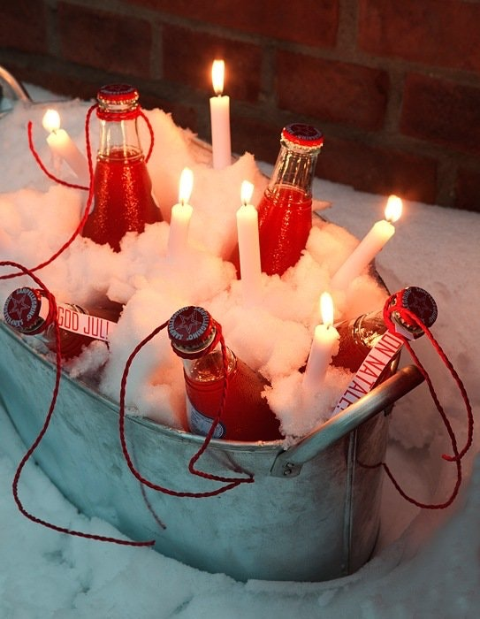 2. Sett velkomstdrinker i snø