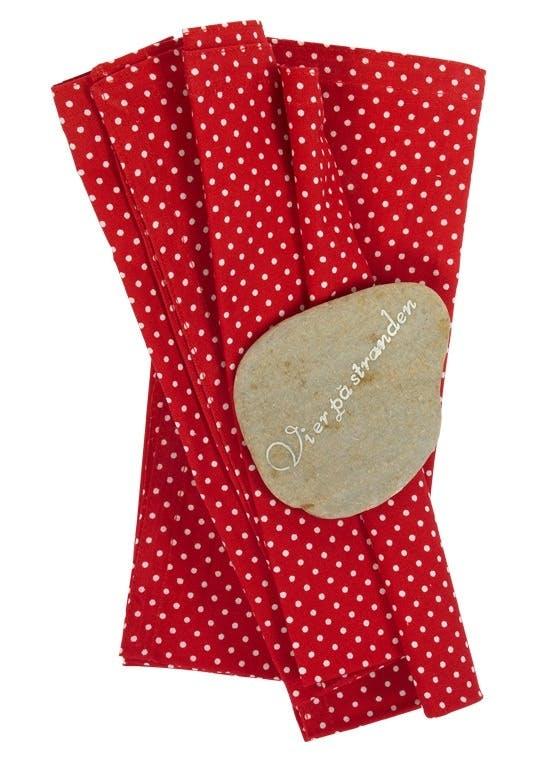 Rødprikkete servietter,