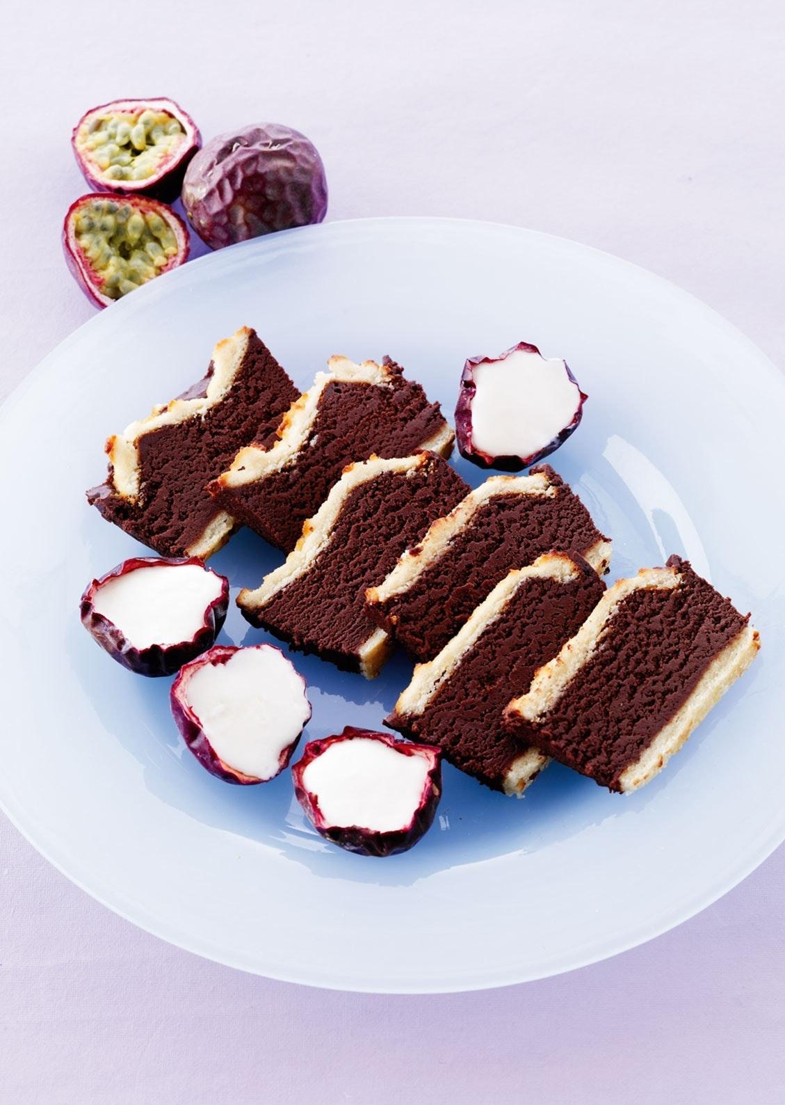 Middag: Chokoladecreme i marcipan med passionsfrugtis