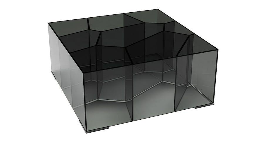 Pent sofabord i sort glass