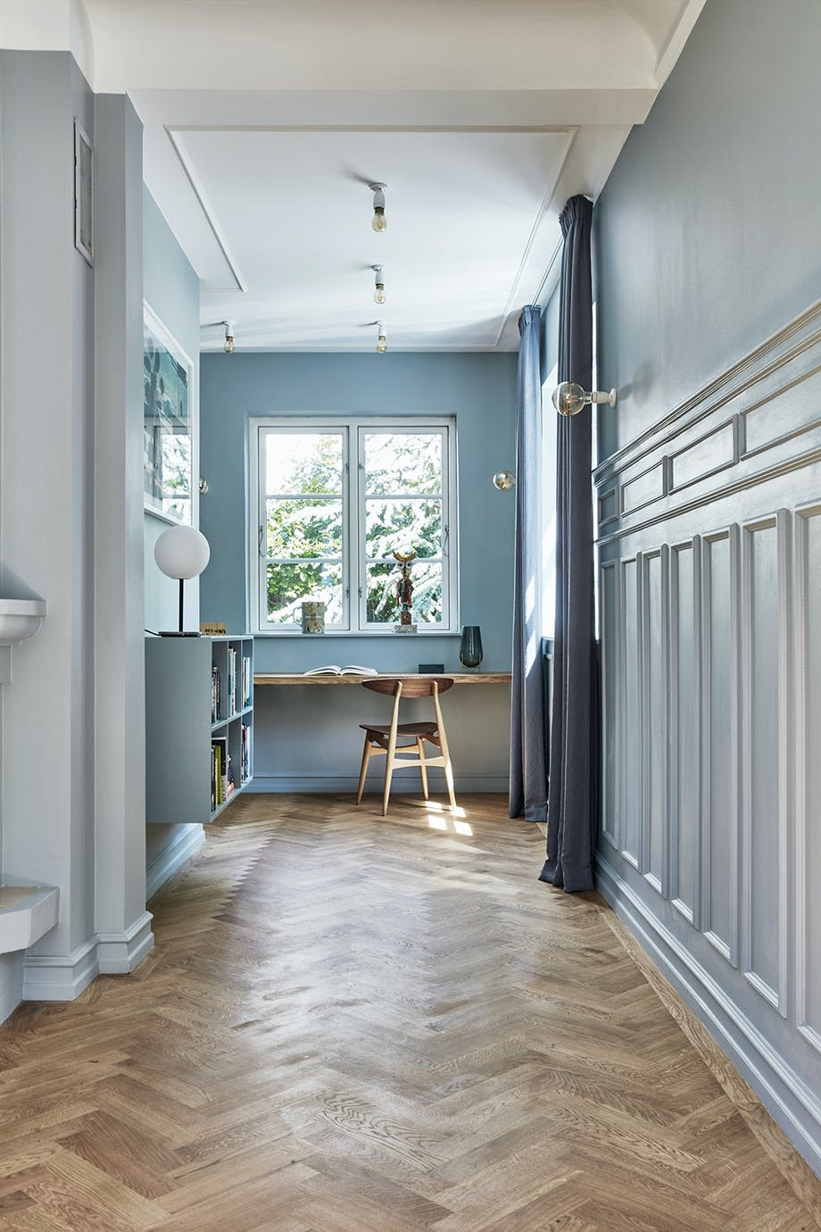 Kontor sildebensgulv dansk designstol paneler