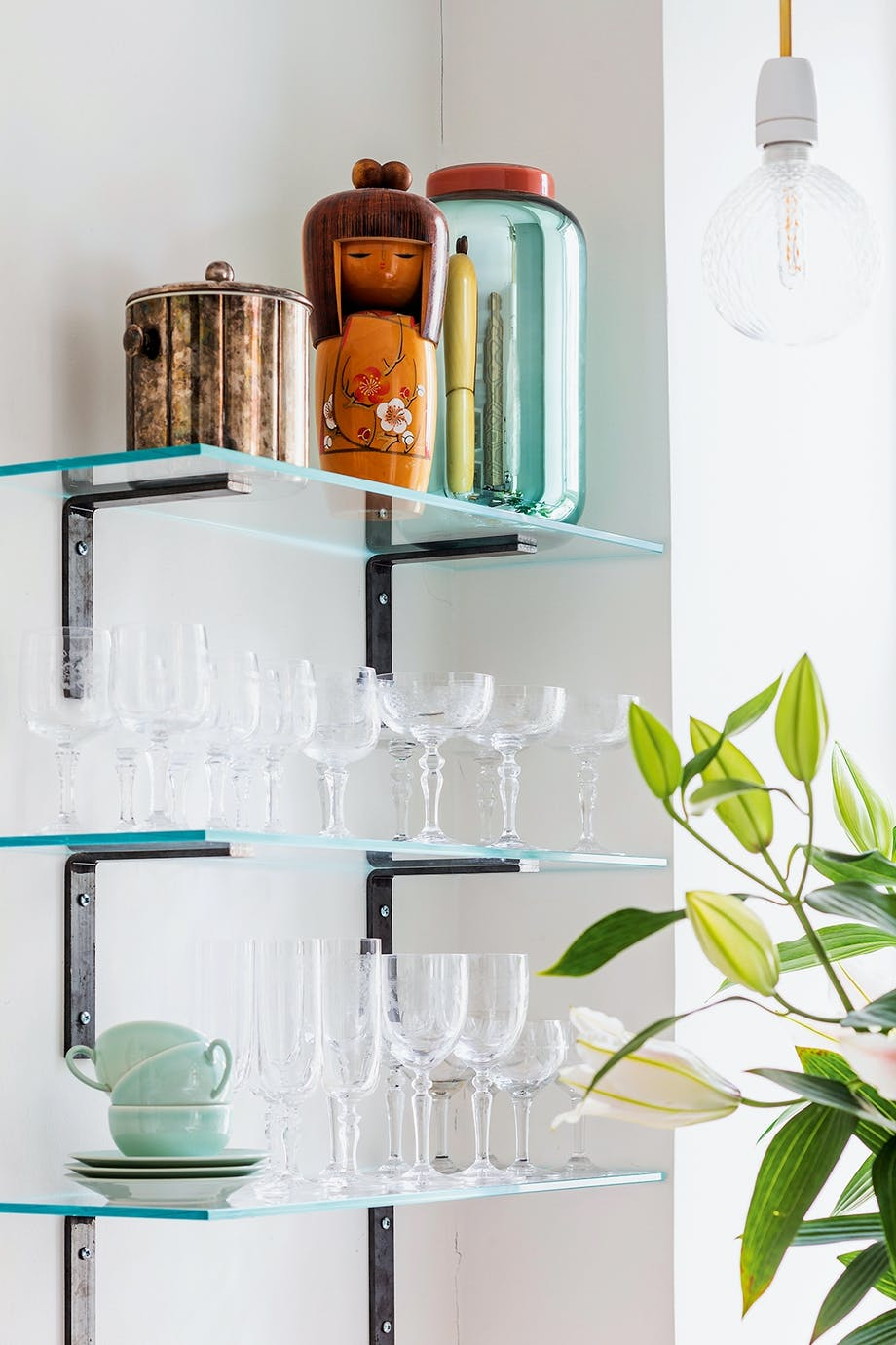 liljer vintage kokeshi dukke glas
