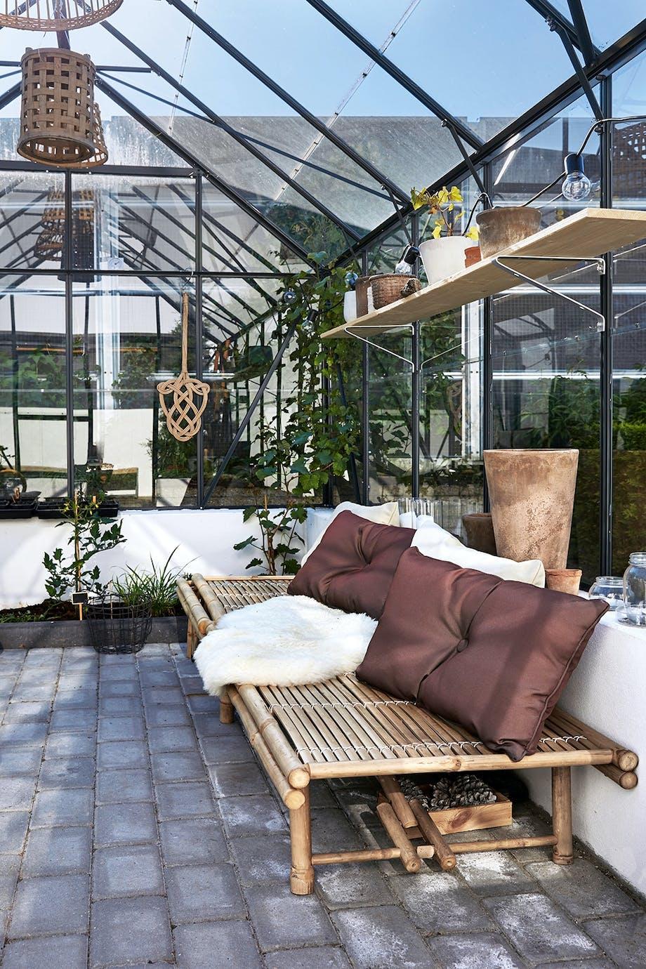 Drivhus Bambus daybed fra Lene Bjerre puder IKEA