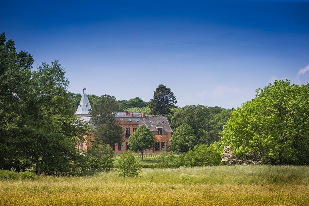 Gurrehus Slot træer marker og sø
