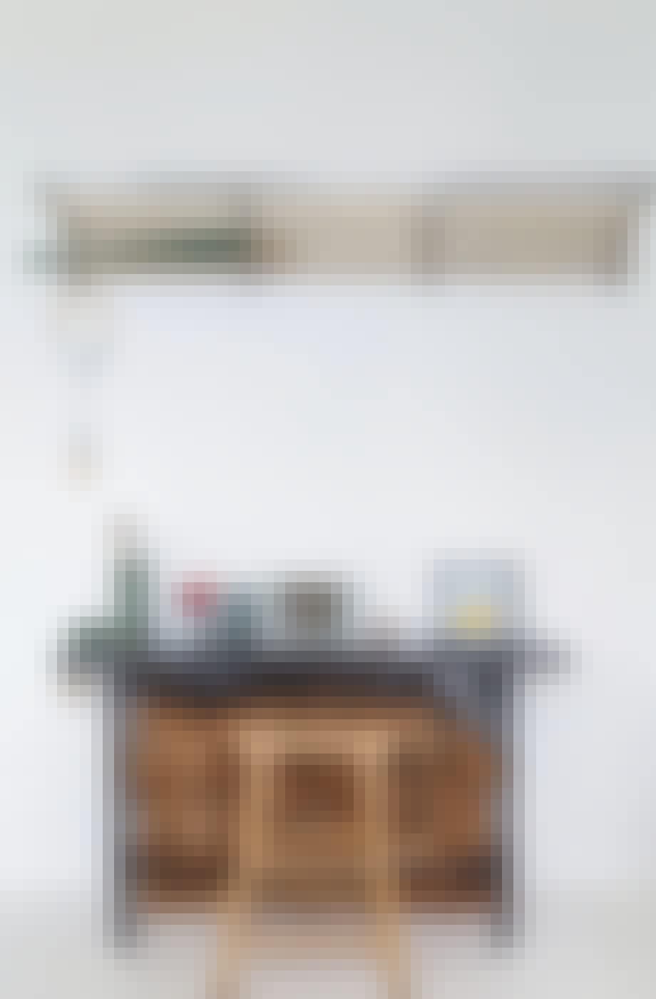 Hattehylde loppefund Terrazzobord Brændestabel