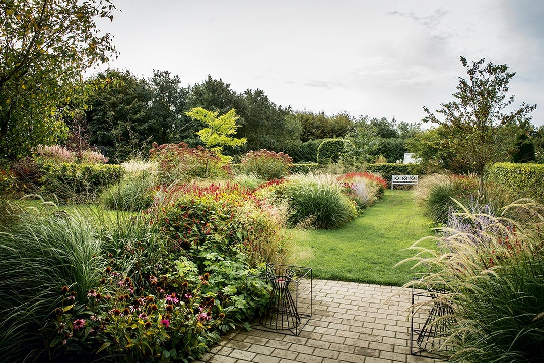 græshave terrasse blomsterbed
